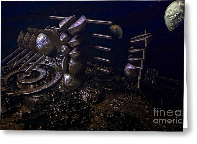 Phantasy Greeting Cards - Planet Explorerstation Greeting Card by Jan Willem Van Swigchem