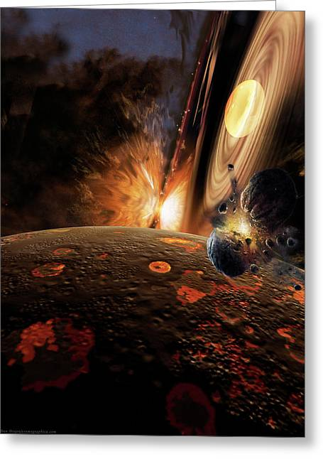 Planet Paintings Greeting Cards - Planet Formation Greeting Card by Don Dixon