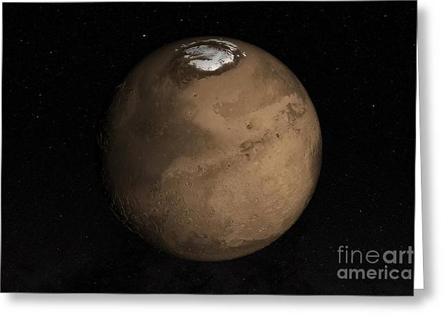 Martians Greeting Cards - Planet Mars Slightly Tilted To Show Greeting Card by Stocktrek Images