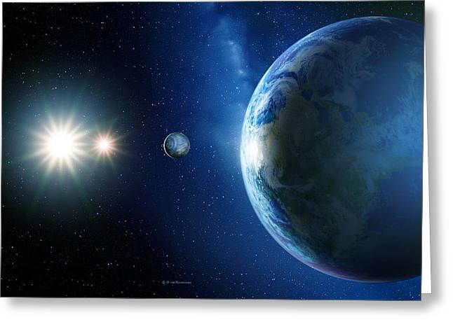Earthlike Greeting Cards - Planet Orbiting Antares, Computer Artwork Greeting Card by Detlev Van Ravenswaay