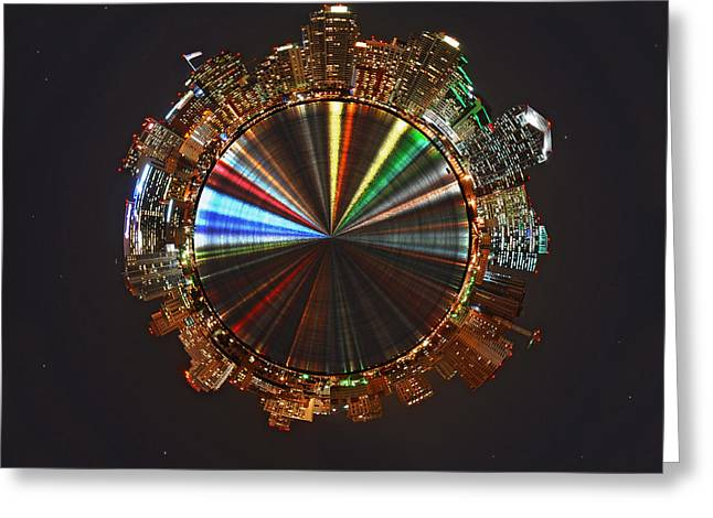 His Light Greeting Cards - Planet Wee San Diego California by Night Greeting Card by Nikki Marie Smith