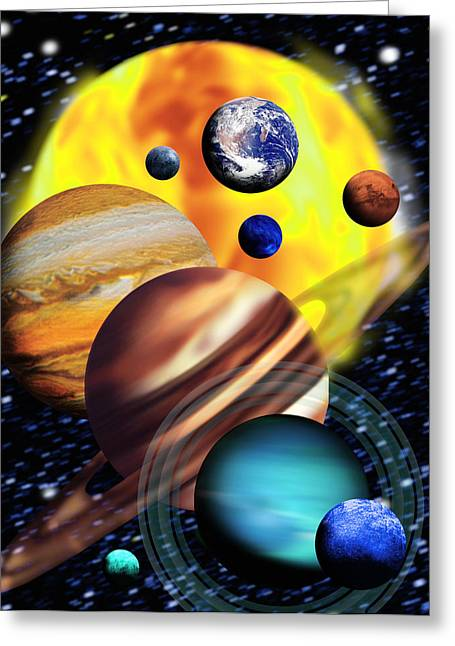Planets & Their Relative Sizes Greeting Card by Victor Habbick Visions