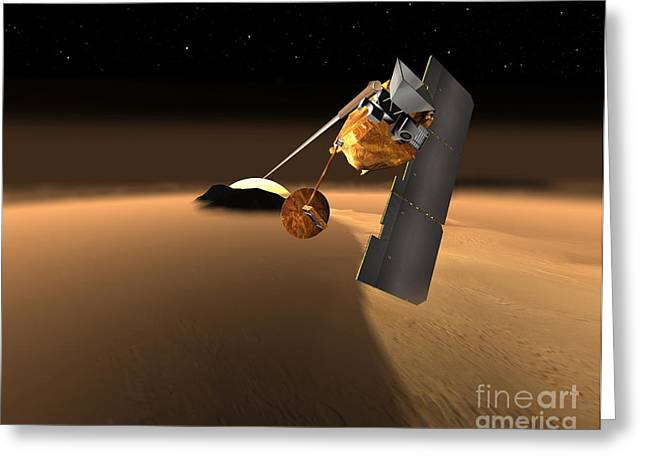Astronomical Research Greeting Cards - Planned Mars Orbiter Greeting Card by NASA / Science Source