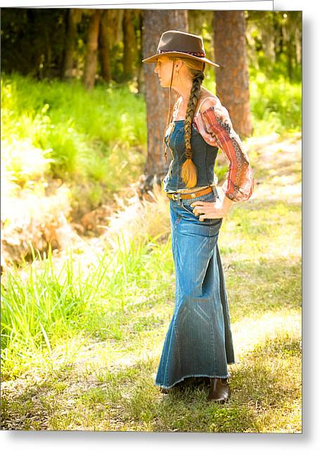 Cowgirl Skirt Greeting Cards - Planning the Dip Greeting Card by N Taylor