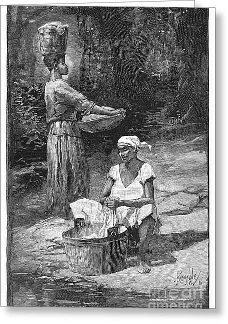 Wash Pail Greeting Cards - Plantation Life, 1886 Greeting Card by Granger