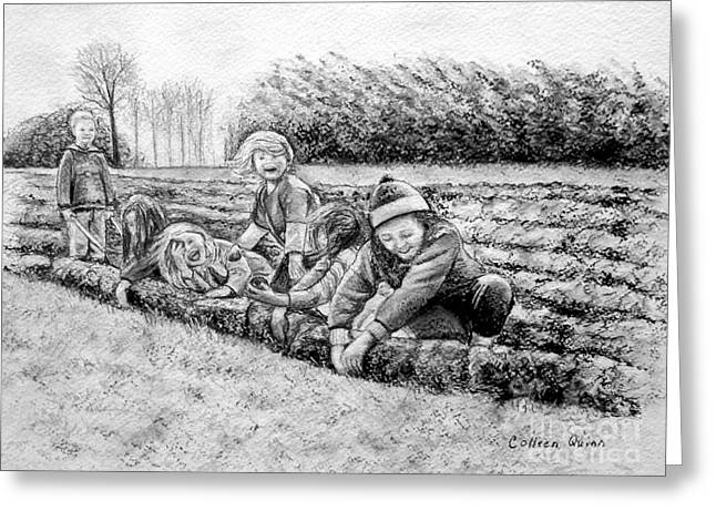 Vegetables Pastels Greeting Cards - Planting Spuds Greeting Card by Colleen Quinn
