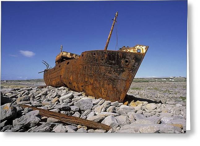 Aran Islands Greeting Cards - Plassey Shipwreck, Inisheer, Aran Greeting Card by The Irish Image Collection
