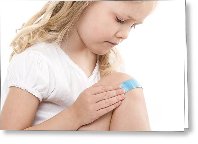 4-5 Years Greeting Cards - Plaster On A Girls Knee Greeting Card by