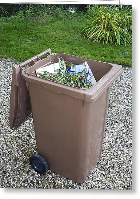 Wheelie Greeting Cards - Plastic Bin For Domestic Green Waste Greeting Card by Sheila Terry