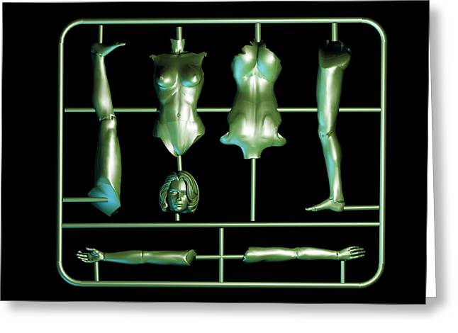 Plastic Models Greeting Cards - Plastic Female Body Kit Greeting Card by Christian Darkin