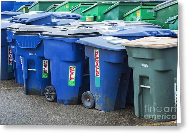 Plastic Garbage Bins Greeting Card by Don Mason
