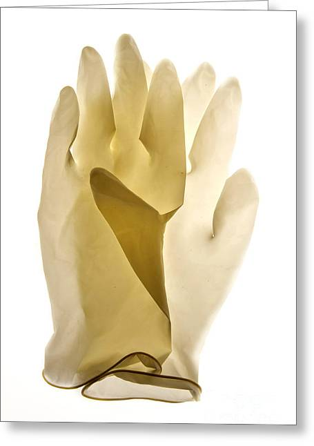 Cut-outs Greeting Cards - Plastic gloves Greeting Card by Bernard Jaubert