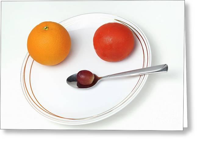 Sami Sarkis Greeting Cards - Plate and spoon with fruits Greeting Card by Sami Sarkis