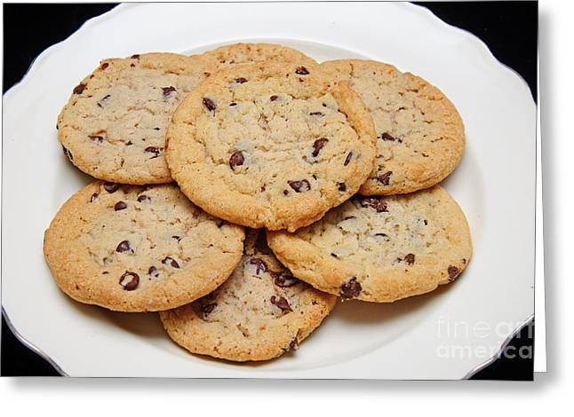 Plate Of Cookies Greeting Cards - Plate of Chocolate Chip Cookies Greeting Card by Andee Design
