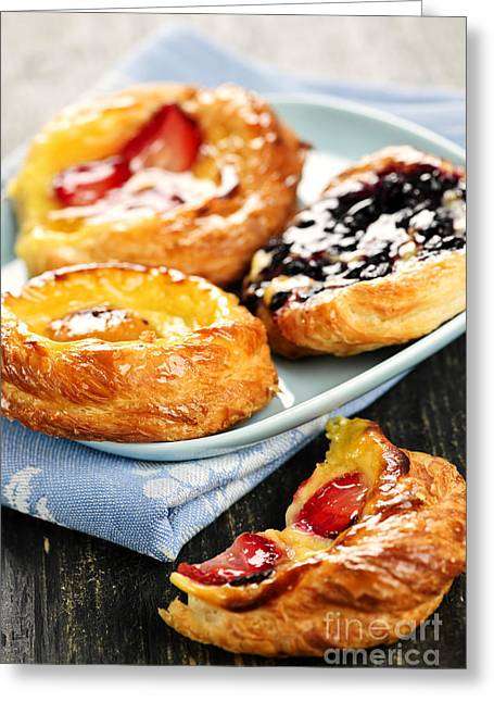 Delicacy Greeting Cards - Plate of fruit danishes Greeting Card by Elena Elisseeva