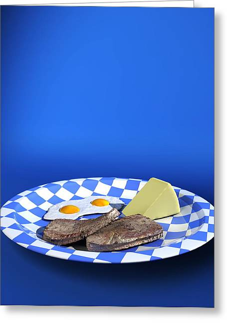 Cheese Burger Greeting Cards - Plate Of Low Carbohydrate Food Greeting Card by Christian Darkin