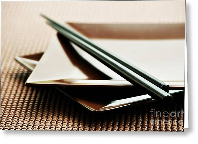 Plates Greeting Cards - Plates And Chopsticks Greeting Card by HD Connelly
