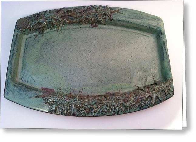 Fine Art Ceramics Greeting Cards - Platter with Pin Oak Leaves Greeting Card by Carolyn Coffey Wallace