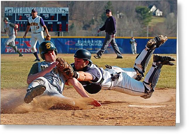Home Plate Greeting Cards - Play at the Plate Greeting Card by Wade Aiken