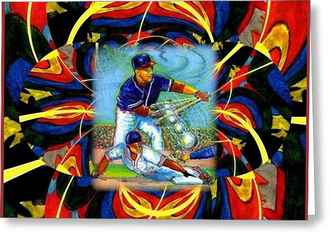 Baseball Art Greeting Cards - Play Ball  Getting on Base Greeting Card by Ray Tapajna