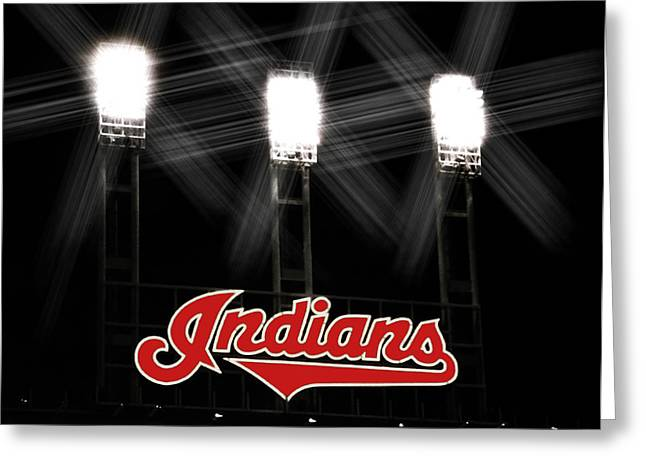 Progressive Field Greeting Cards - Play Ball Greeting Card by Kenneth Krolikowski