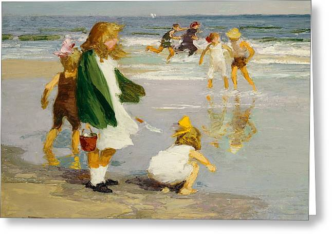 Kid Greeting Cards - Play in the Surf Greeting Card by Edward Henry Potthast