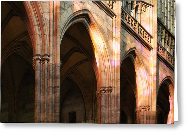 Castle Greeting Cards - Play of light and shadow - Saint Vitus Cathedral Prague Castle Greeting Card by Christine Till