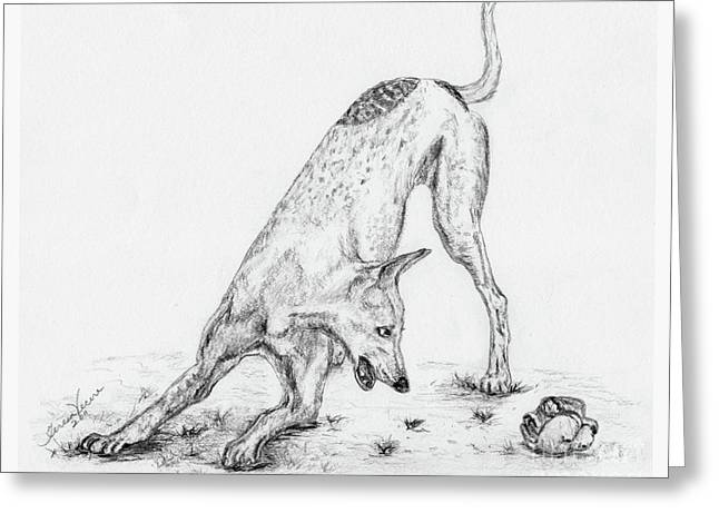 Rescue Drawings Greeting Cards - Play Greeting Card by Teresa Vecere