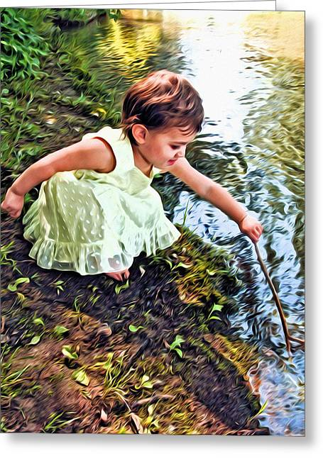 Girl In Water Greeting Cards - Play Time Greeting Card by James Steele