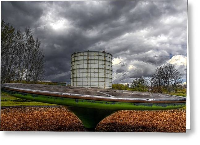 Gas Tower Greeting Cards - Play time Greeting Card by Lee-Anne Rafferty-Evans