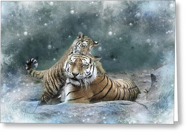 Tiger Digital Art Greeting Cards - Play With Me Mum Greeting Card by Julie L Hoddinott