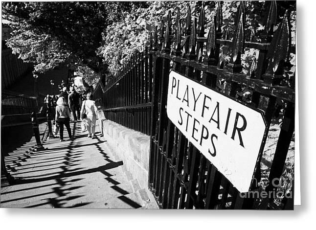 playfair steps down into princes street gardens edinburgh scotland uk united kingdom Greeting Card by Joe Fox
