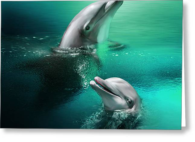 Playful Dolphins Greeting Card by Julie L Hoddinott