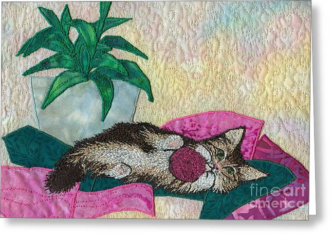 Print Tapestries - Textiles Greeting Cards - Playful Mischief  Greeting Card by Denise Hoag