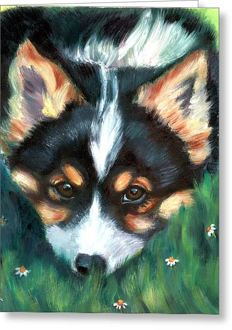 K9 Greeting Cards - Playful Pup - Pembroke Welsh Corgi Greeting Card by Lyn Cook