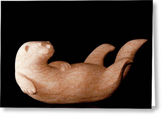 River Sculptures Greeting Cards - Playfull Greeting Card by Fred  Hummel