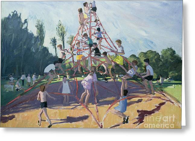 Climbing Greeting Cards - Playground Greeting Card by Andrew Macara