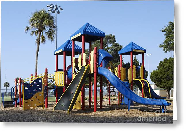 Roof Covering Greeting Cards - Playground Equipment Greeting Card by Skip Nall