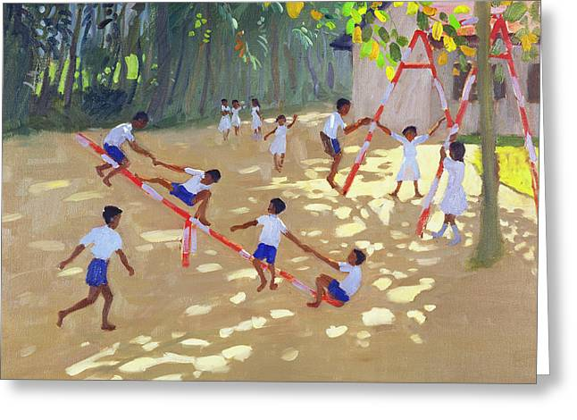 Sri Lanka Greeting Cards - Playground Sri Lanka Greeting Card by Andrew Macara