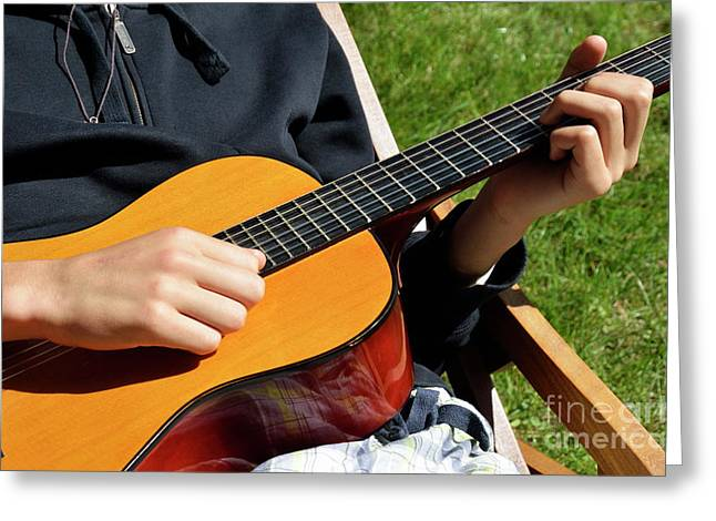 Playing Musical Instruments Greeting Cards - Playing accoustic guitar Greeting Card by Sami Sarkis