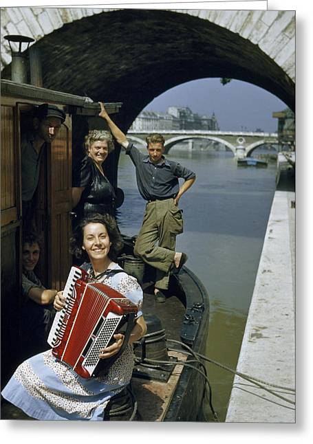 Playing And Listening To An Accordion Greeting Card by Justin Locke