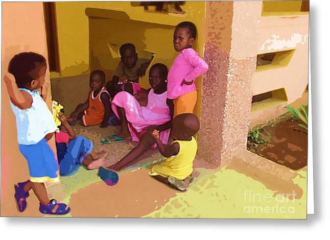 Ghana Greeting Cards - Playing at Hands of Mercy Greeting Card by Deborah MacQuarrie