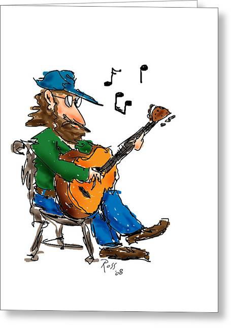 Guitar Player Drawings Greeting Cards - Playing Fer Fun Greeting Card by Ross Powell