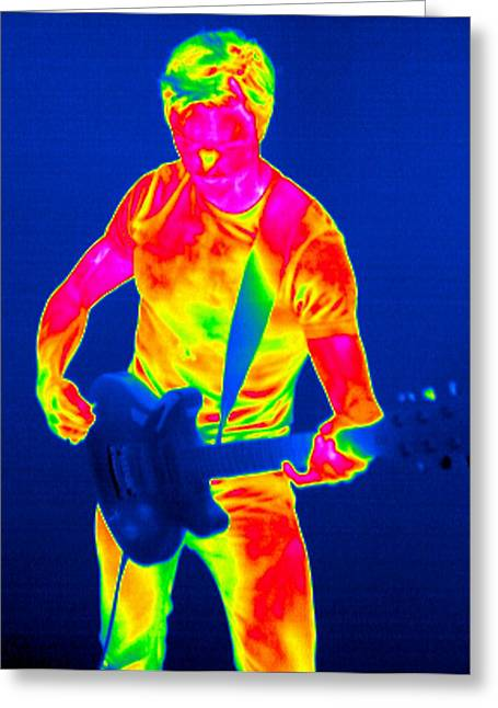 Playing Musical Instruments Greeting Cards - Playing Guitar, Thermogram Greeting Card by Tony Mcconnell