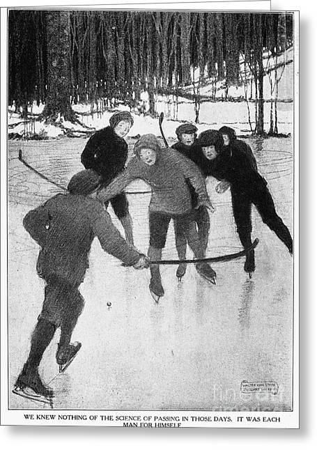 Shinny Greeting Cards - Playing Ice Hockey, 1913 Greeting Card by Granger
