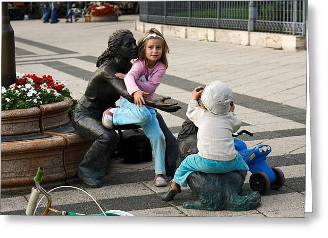 Missing Child Greeting Cards - Playing on Sculpture Greeting Card by Sally Weigand