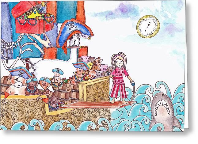 Llama Drawings Greeting Cards - Playing Pirates Greeting Card by Jenny Valdez