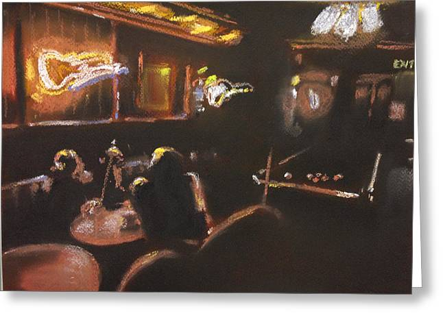 Playing Pool Greeting Card by Paul Mitchell