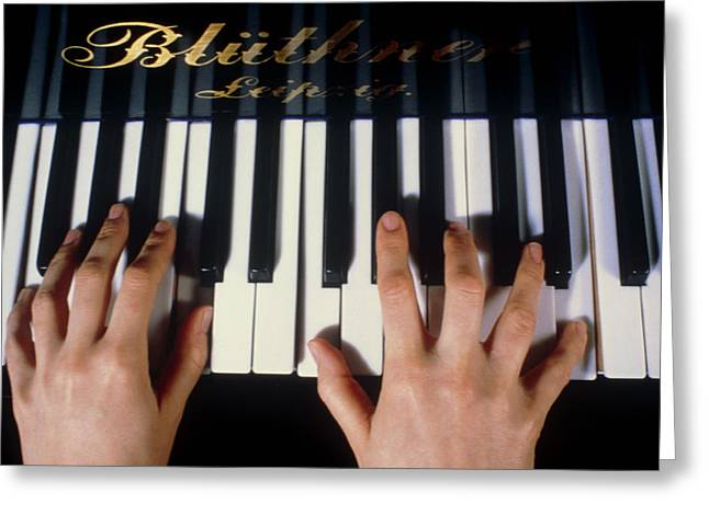 Playing Piano Greeting Cards - Playing The Piano. Greeting Card by Damien Lovegrove