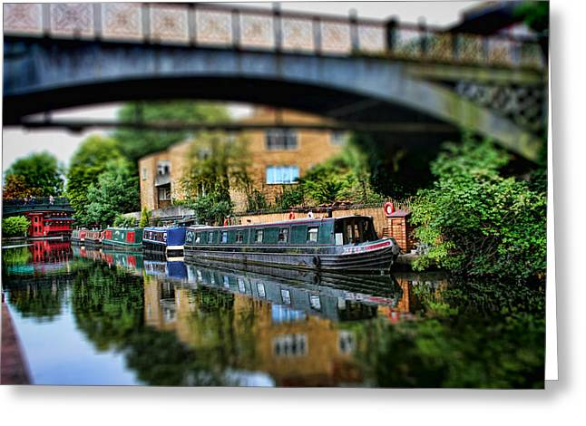 Miniature Effect Greeting Cards - Playing with Canal Boats Greeting Card by Heather Applegate